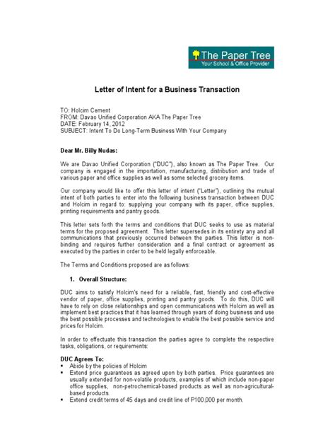 Letter of Intent for a Business Transaction   Financial