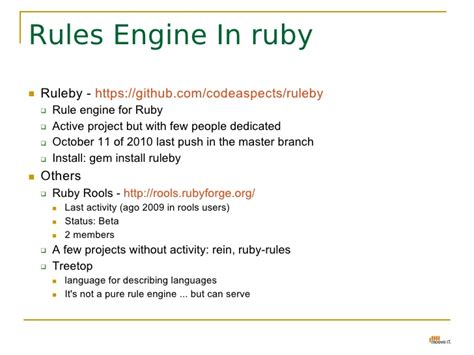 Rules Engine - java(Drools) & ruby(ruleby)