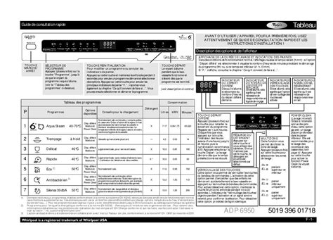 Mode d'emploi lave-vaisselle WHIRLPOOL ADP 6950 WH Trouver