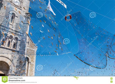 Fishing Net Spread Outside A Church Editorial Stock Photo