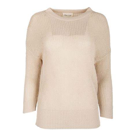Pull beige maille ajourée manches longues Femme AMERICAN