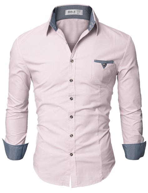 Doublju Mens Casual Shirt with Contrast Neck Band at