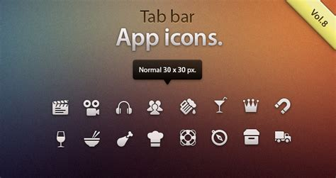 Tab Bar Icons iOS vol8   Mobile Apps Icons   Pixeden